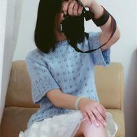 天蓝色淑女装棒针女士短袖镂空衫
