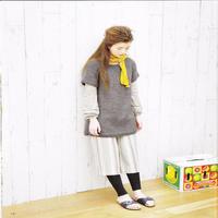 少女棒针圆肩深灰色短袖毛衣裙