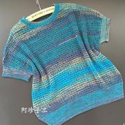 紫萝女士棒针镂空花塌肩短袖套衫