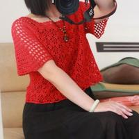 女士钩针红色短袖短款套头衫