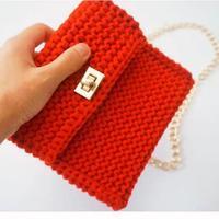 布条线棒针挎包手拿包编织视频教程