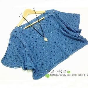 女士亚麻棒针编织镂空宽松罩衫