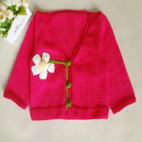 儿童棒针花朵V领小开衫编织视频教程(3-2)棒针花朵装饰的织法