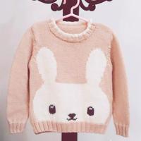 可爱大方棒针编织儿童粉色兔子毛衣
