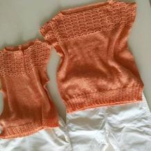 姐妹装钩织结合儿童夏季套头衫