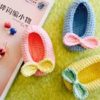 适合新生儿的9cm森系蝴蝶结宝宝鞋编织视频教程(2-1)鞋底钩法