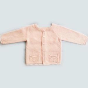 粉色女童棒针插肩式羊绒开衫