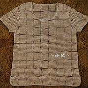 男士田字格钩针圆领短袖套衫