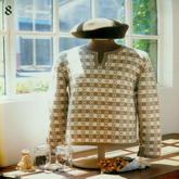 女士中性风格棒针提花半开领长袖套衫