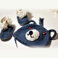 男宝宝的钩针灰熊帽及萝卜丝童鞋套装