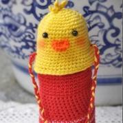 可爱的宝宝钩针小黄鸭奶瓶套