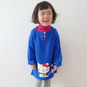 Kitty生日小火车图案女童棒针长袖裙衣