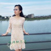优雅女士V领太阳花钩针连衣裙