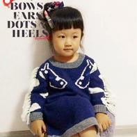 别致有型儿童棒针流苏小马图案长款毛衣
