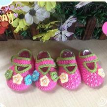 粉嫩花朵钩针宝宝鞋编织教程