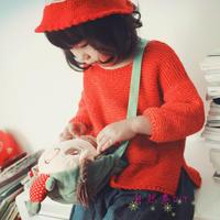 简约休闲款女童棒针套头毛衣