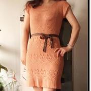 女士棒针修身短袖连衣裙