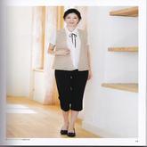 女士钩针菱形花样杏色大V领OL风格无袖开衫