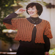 女士橙色钩针高腰飞袖小开衫