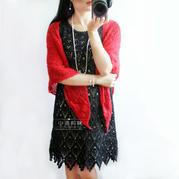 黑色经典夏季钩针短袖连衣裙