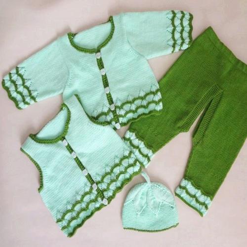 寶寶雙色棒針波浪花四件套毛衣裝編織視頻(9-5)開襠褲織法