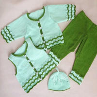 宝宝双色棒针波浪花四件套毛衣装编织视频(9-6)袖子缝合方法