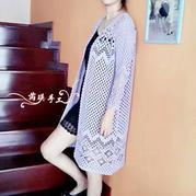 女士棉麻钩针蕾丝风衣
