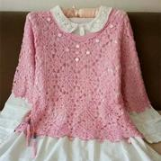 粉色中袖拼花女士钩针套衫
