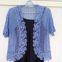 蓝萝 云帛Ⅱ女士钩针菠萝边短袖开衫