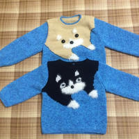 婴幼儿棒针猫咪图案圆领套头毛衣