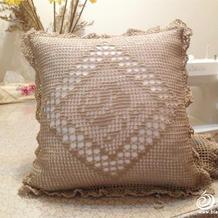 低调奢华钩针方格编玫瑰图案蕾丝方形抱枕