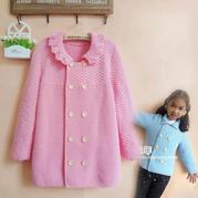 牛奶棉儿童棒针小翻领双排扣外套编织视频教程(8-6)女童花边领的织法