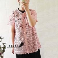 大热款雀羽加长版女士钩针蕾丝包扣短袖开衫