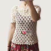 女士钩针拼花领蕾丝短袖套衫