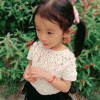 儿童夏日钩编棉短袖罩衫