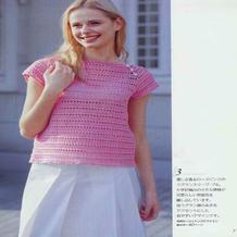 少女款钩针玫粉色插肩短袖套衫