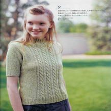 少女棒针绿白夹花线麻花中领五分袖清新套衫