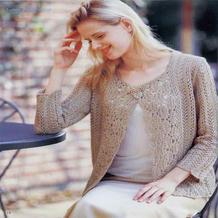熟女风格米金色钩织结合长袖开衫