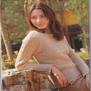 女士杏色棒针麻花插肩袖套衫
