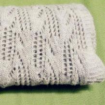 麻灰色女士棒针镂空花围巾