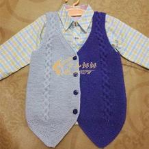 儿童双色棒针西装马甲的编织方法