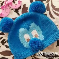 可爱毛球棒针宝宝米奇帽