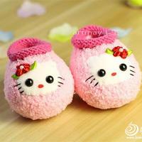 棒针编织绒绒线Kitty猫婴儿学步鞋视频教程(7-4)低筒鞋口