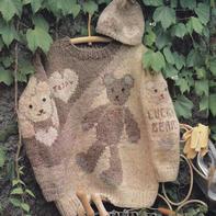 泰迪熊图案粗针织儿童棒针毛衣