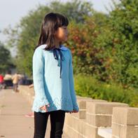 女童学院风棒针套头毛衣