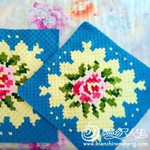 可以做抱枕可以做毯子的玫瑰图案钩针毯子