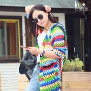 刘亦菲街拍同款经典美丽诺羊毛钩针彩虹衣详细编织教程