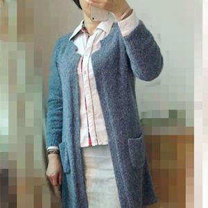 小圈圈线女士棒针中式领大衣