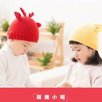 萌鹿造型棒针儿童帽子编织视频教程