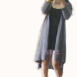 女士复古斜襟棒针长款开衫外套